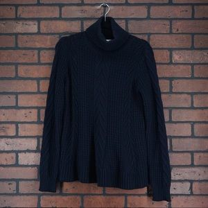WHISTLES 100% Wool Turtleneck Sweater Cable Knit 4